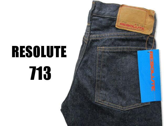 """710 だけが RESOLUTE じゃない!! 当店ではこちらも人気です!! リゾルト 713 RESOLUTE ワンウォッシュ済み """"713"""" 股上が浅めの細身のストレート W28〜34"""