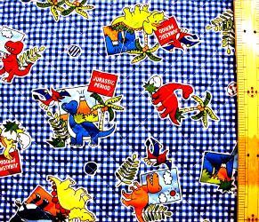 ウキウキ!恐竜(紺) (材料セット・キルティング)レッスンバッグ(またはピアニカ袋)とシューズケース用【×クロネコDM便不可】