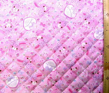ぼんぼんりぼん(ピンク)#11(材料セット・キルティング)レッスンバック(またはピアニカケース)とシューズケース用手作りキット【レッスンバッグ】【ピアニカ入れ】【シューズケース】【×クロネコDM便不可】