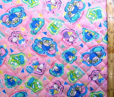 サンリオ80sキャラクターズ(ピンク)#9(材料セット・キルティング)レッスンバック(またはピアニカケース)とシューズケース用手作りキット【レッスンバッグ】【ピアニカ入れ】【シューズケース】【×クロネコDM便不可】