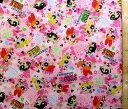 <キャラクター生地 布>パワーパフガールズ(ピンク)#2【キャラクター】【生地】【布】【キャラクター生地】【入園】【入学】