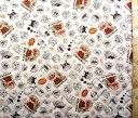 <Qキャラクター キルティング生地>アンパンマン (生成/茶)#72【キルティング】【キルト】【キャラクター】【キルティング生地】【布】【入園】【入学】
