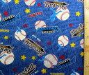 プリント生地 ベースボール ( デニム風 ) ( 紺 ) ( 野球 星 ホームラン ボール スター カッコイイ 男の子 子供 入園 入学 )