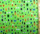 ★現品限りです(廃番になりました) プリント生地 昆虫 大行進( 黄緑 ) オックス(綿100%)生地幅−約110cm ( カブト虫 クワガタ トンボ ちょうちょ セミ てんとう虫 リアル柄 カッコイイ 男の子 子供 入園 入学 )