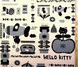 <キャラクター生地・布>キティ(生成/グレー)#200・8号ハンプ(厚くて硬くてしっかりした生地です)(1mまでクロネコDM便OK)【キャラクター】【生地】【布】【キャラクター生地】