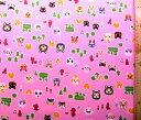 ショッピングどうぶつの森 ◇ 巾着袋 ( 材料セット ) レシピ付き どうぶつの森( ピンク ) 柄番号2【体操服入れ 給食袋 お弁当袋 コップ袋が各1個 ( 合計4個 ) 作れます】 ( キャラクター 生地 材料キット )