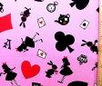 アリスのトランプ(ピンク)(ビニールコーティング・ラミネート生地)【×クロネコDM便不可】