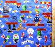 <Qキャラクター・キルティング生地>スーパーマリオメーカー(ブルー)#2【キルティング】【キルト】【キャラクター】【キルティング生地】【布】【入園】【入学】