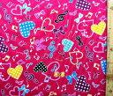 巾着袋(材料セット)・ドレミファ・ハート(ピンク)【体操服入れ・給食袋・お弁当袋・コップ袋が各1個(合計4個)作れます】