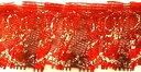 フリルレース(3センチ幅)赤×ゴールド