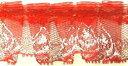 フリルレース(3センチ幅)赤×シルバー