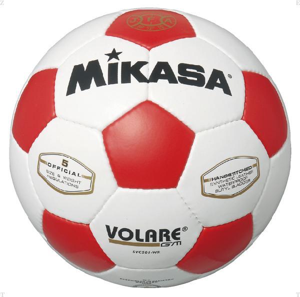 検定球 サッカー5号 白/赤【MIKASA】ミカササッカーmikasa(SVC501WR)*21