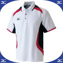 ゲームシャツ (72ホワイト×レッド×ブラック)【MIZUNO】ミズノ●テニス ウエア ゲームウエア(A75HB20272)*57