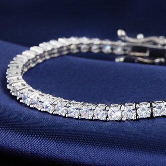 4 Carat CZ diamond silver tennis bracelet fs3gm.