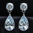 It is fs2gm 5 carats teardrop CZ diamond silver pierced earrings (two pair sets) [RCP] [YDKG] [smtb-kd] [comfortable ギフ _ Messe] [easy ギフ _ Messe input] [free shipping, collect on delivery fee free of charge] [easy ギフ _ packing]