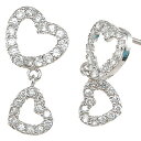 It is fs2gm Droping Double heart CZ diamond silver pierced earrings (two pair sets) [RCP] [YDKG] [smtb-kd] [comfortable ギフ _ Messe] [easy ギフ _ Messe input] [free shipping, collect on delivery fee free of charge] [easy ギフ _ packing]
