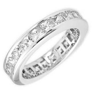 2.25 Carats Princess FL eternity CZ diamond silver ring ( ring ) fs3gm.