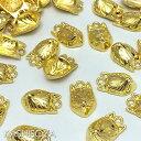 チャーム/キツネのお面10mm×16mm「ゴールド」10個入り(和風チャーム,きつね,お面,手芸,ハンドメイド,)