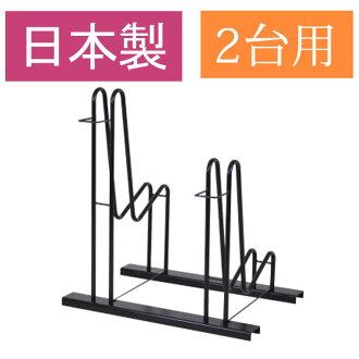 堅固的自行車機架立場保持兩個自行車架自行車站週期站自行車存儲自行車存儲週期架自行車站站雙看兩個前輪穩定 16 28 英寸-為日本國內室外瀑布預防容易安裝黑