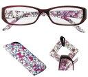 老眼鏡 シニアグラス おしゃれ メガネケース グラスホルダー付 女性用 クリアレッド花柄