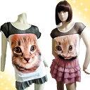 ☆セール☆カットソーびっくり子猫のお顔プリントフレンチスリーブ涼しげ黒レースキャットフェイスかわいいネコちゃん