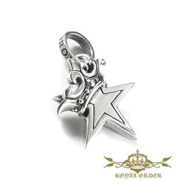 【ROYAL ORDER】ロイヤルオーダー【送料無料/あす楽】SMALL SOLID STAR W/CROWN スモールソリッドスターw/クラウン/シルバーペンダント/スター/クラウン/王冠/星