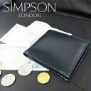 【SIMPSON LONDON】 シンプソン・ロンドン/W112/ブライドルレザー二つ折りウォレット/ネイビー×レッド(当社指定カラー)