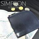 【SIMPSON LONDON】 シンプソン・ロンドン/ZP1S/ブライドルレザーL字コインケース/ミニウォレット/ネイビー×レッド(当社指定カラー)