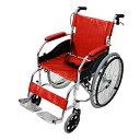 送料無料 新品 車椅子 アルミ合金製 赤 約11kg 軽量