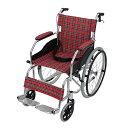 送料無料 車椅子 アルミ合金製 レッドチェック 約11kg
