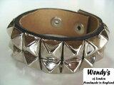 ��WENDY'S����ǥ����������� �����ꥹ��2-Row Small Pyramid Stud Wrist Band2Ϣ���⡼�� �ԥ�ߥå� �����å� �ꥹ�ȥХ��(SV/BK)��YDKG-k�ۡ�W3��