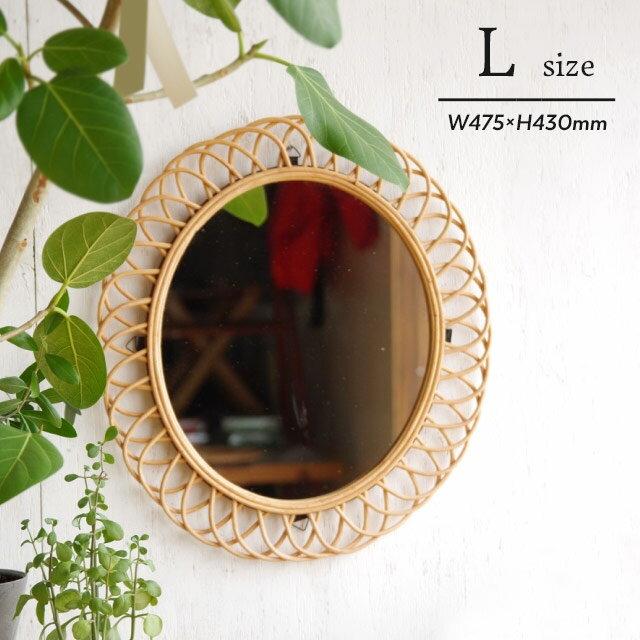 a.depeche ロッタ ラタン ミラー L アデペシュ Rotta Rattan Mirror Lサイズ ellipse エリプス オーバル 籐 鏡全長約W475×H430mm