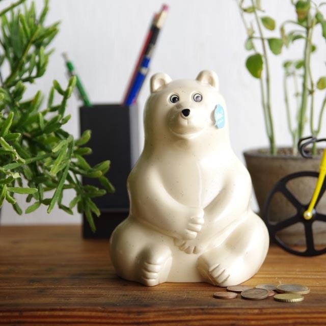 シロクマ 貯金箱 ポーラーベア マネーボックス Polar Bear Money Box フィンランド 北欧 JZ079