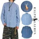 【ボーイズサイズ】ラルフローレン RALPH LAUREN 長袖シャツ メンズ レディース 刺繍ワンポイントデニムシャツ 小さいサイズ シャンブレーシャツ ストリート ネイビー ブルー 新生活 ギフト
