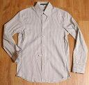 セオリーtheoryストライプダブルカフスシャツ36白グレー