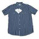 新品!アルマーニ ジーンズ ARMANI JEANS チョークストライプ綿麻半袖シャツ ネイビー白XL