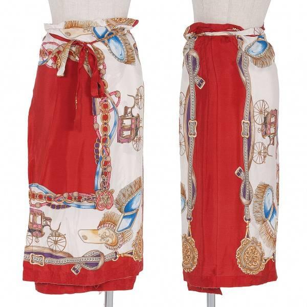 コムコム コムデギャルソンCOMME des GARCONS シルクスカーフ巻きスカート 赤マルチS