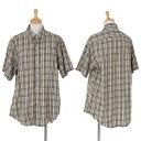 45rpm チェック半袖ボタンダウンシャツ 黄緑青2【中古】