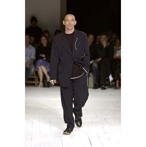 ヨウジヤマモトプールオムYohji Yamamoto POUR HOMME ウールギャバパイピングデザインセットアップスーツ 黒2・3【中古】