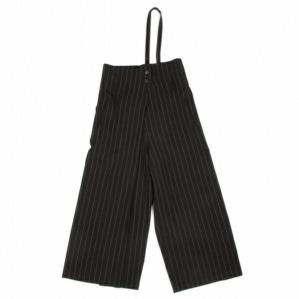 ワイズY's ウールショルダーストライプハーフラップパンツ 黒白M位【中古】
