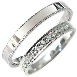 【送料無料】プラチナ・ペアリング・ダイヤモンド・結婚指輪・ミル打ち・マリッジリング【RCP】10P06Aug16 プラチナ製彫金ペアリング