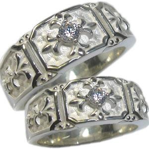 【送料無料】マリッジリング・シルバー・ダイヤモンド・リング・百合の紋章・クロス・指輪・ペアリング【RCP】10P06Aug16 クロス ダイヤモンド リング シルバー マリッジリング