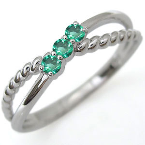 ファランジリング エメラルド リング プラチナ 指輪 ピンキーリング