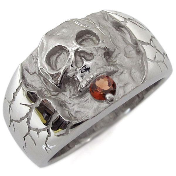 【送料無料】プラチナ・ガーネット・ドクロリング・骸骨・リング・指輪【RCP】10P06Aug16 ガーネット プラチナ 骸骨 指輪 スカルリング