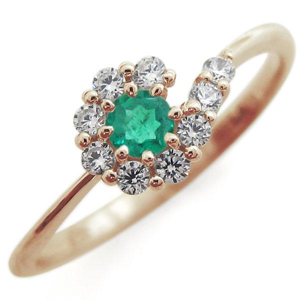 【送料無料】エメラルド・ブライダルリング・取り巻き・指輪・結婚10周年・K10【RCP】10P06Aug16 メモリアルリング エメラルドリング 結婚記念日 指輪 10金