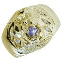 【送料無料】ライオンリング タンザナイト メンズ 18金 指輪 アニマルリング【RCP】10P06Aug16