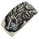 ショッピングマリン シルバーリング ウルフ 狼 アクアマリンサンタマリア 3月誕生石 メンズ 指輪 シルバー