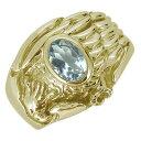 指輪 メンズ 鷲 ワシ 3月誕生石 アクアマリン イーグル 10金 オーバルリング 鷹
