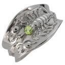 ショッピング指輪 メンズ 指輪 プラチナ さそり サソリ 8月誕生石 ペリドット リング