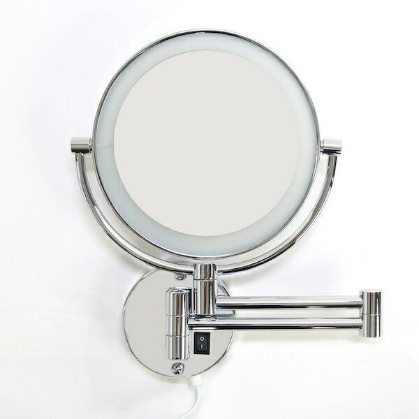 壁付けミラー 拡大鏡 3倍 LEDライト付 折りたたみホテルミラー 送料無料